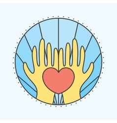 Hands and heart vector image vector image