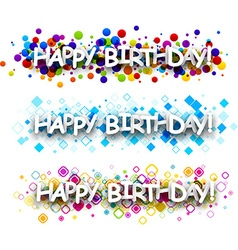Happy birthday colour banners vector