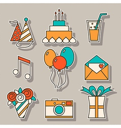 Holiday flat icons festive signs and symbols vector