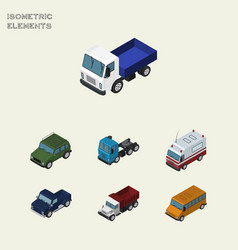 Isometric transport set of autobus armored first vector