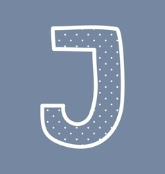 J alphabet letter with white polka dots on blue vector