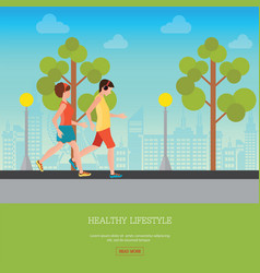 man and woman jogging together vector image vector image