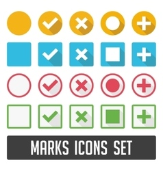 Marks icons set with shadow vector image vector image