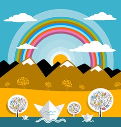 Mountains Landscape Nature Paper Mountains and vector image vector image