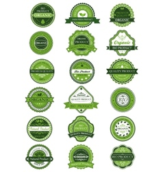 Organic or natural product labels and banners set vector image vector image