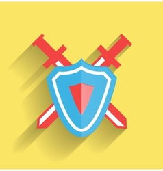 protection shield flat icon vector image vector image