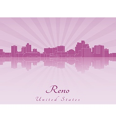 Reno skyline in purple radiant orchid vector image