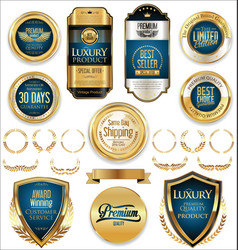 retro vintage golden badges and labels collection vector image