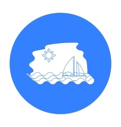 Sailing boat on the sea icon in black style vector
