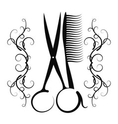Scissors and comb with ornament vector