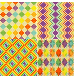 Set of Colorful Retro Seamless Pattern Wallpaper vector image vector image
