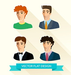 Set of flat design mens portraits vector image vector image