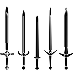 Stencils of medieval swords vector