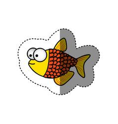 surprised fish scalescartoon icon vector image vector image