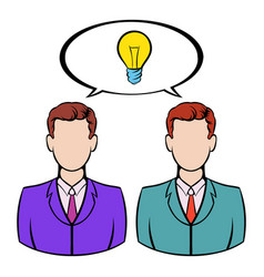 two businessmen and lightbulb icon icon cartoon vector image
