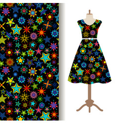 women fabric pattern with kaleidoscope stars vector image vector image