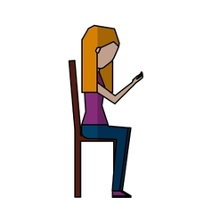 Young woman with smartphone avatar character vector