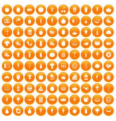 100 food icons set orange vector image vector image