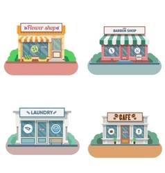 Set of flat design shops facade icons vector
