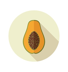 Papaya flat icon tropical fruit vector
