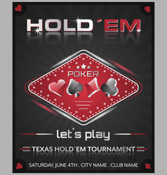 Texas holdem poker tournament poster vector