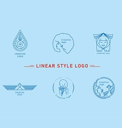 Selection of the linear style logos vector