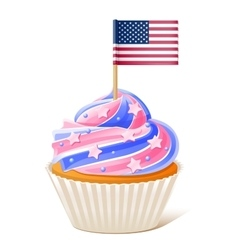 Fourth of july american cupcake flag toothpick vector