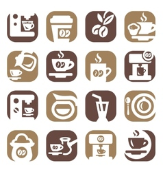 color coffee icons set vector image