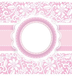 White guipure with ribbon and stiches vector