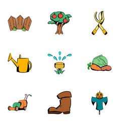 Ground work icons set cartoon style vector