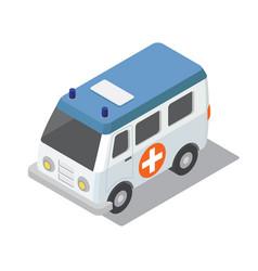Flat 3d isometric ambulance car for city map vector