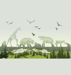 Double exposure wild animals and forest vector