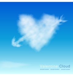 Valentine cloud on th sky background vector