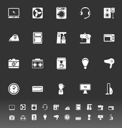 Electrical machine icons on gray background vector