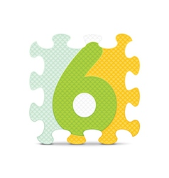 Number 6 written with alphabet puzzle vector
