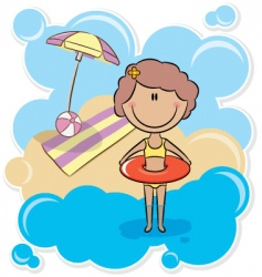 Girl with inner tube vector
