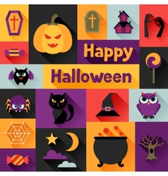 Happy halloween greeting card in flat design style vector