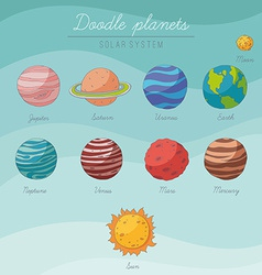 Doodle planets collection vector