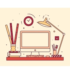 Modern designer work space linear style computer vector