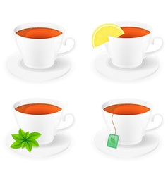 Porcelain cup with tea 01 vector