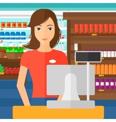 Saleslady standing at checkout vector
