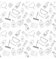 Outline seamless cleaning products and equipment vector