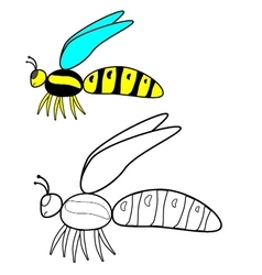 Color by example wasp vector