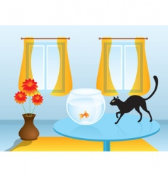 Black cat hunting goldfish vector