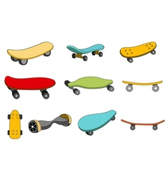 Set of colorful skateboards vector