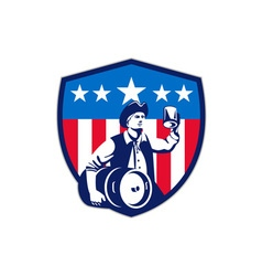 American patriot beer keg flag crest retro vector