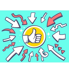 arrows point to icon of thumb up on green vector image vector image