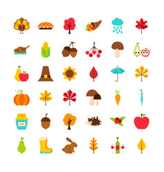 Big set thanksgiving day objects vector