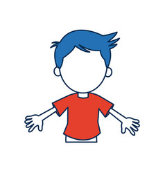 Boy cartoon student in blue and orange avatar vector