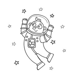 cartoon astronaut floating in vector image